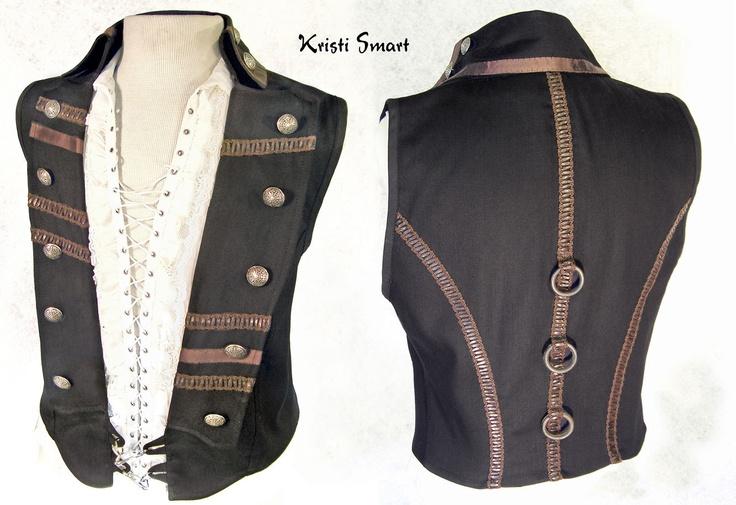 Black steampunk vest with metal adornments. $160.00, via Etsy.