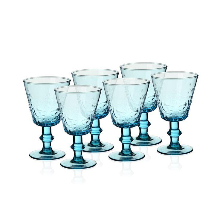 Bernardo Ayaklı Mavi Kadeh #drinking #glass #wine #blue #tabledesign
