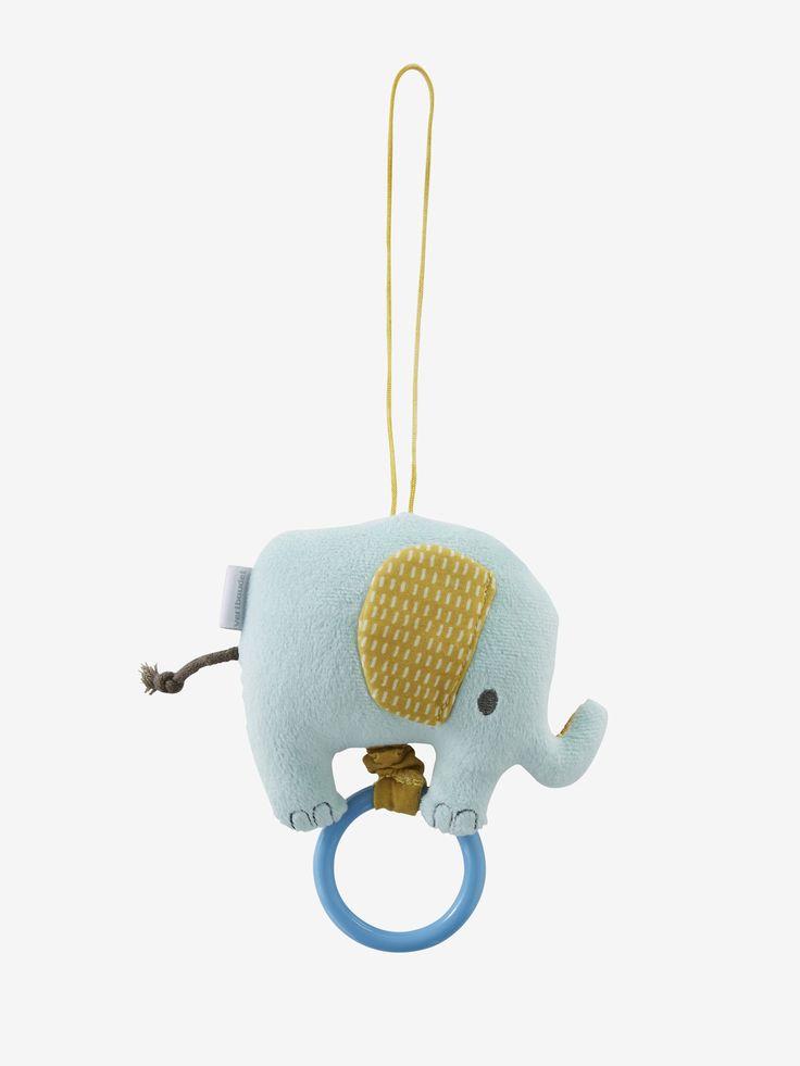 Hochet éléphant multicolore - Ça papouille, ça tripote, ça mordille...Un hochet vibrant pour éveiller les sens de bébé !   www.vertbaudet.fr