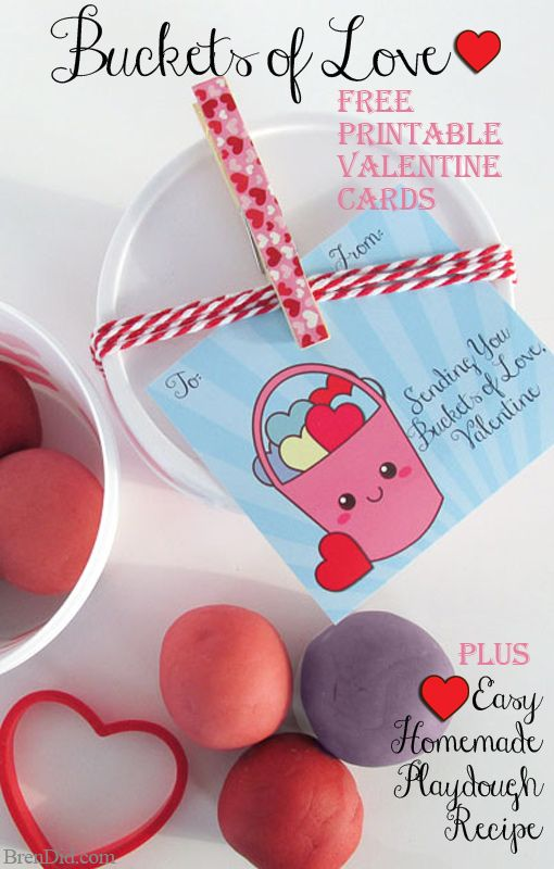 """Buckets of Love"" Free Printable Valentine Cards and Homemade Playdough Recipe → a simple DIY Valentine craft project for parents and kids. http://brendid.com/buckets-love-free-printable-valentine-cards-homemade-playdough-recipe/"