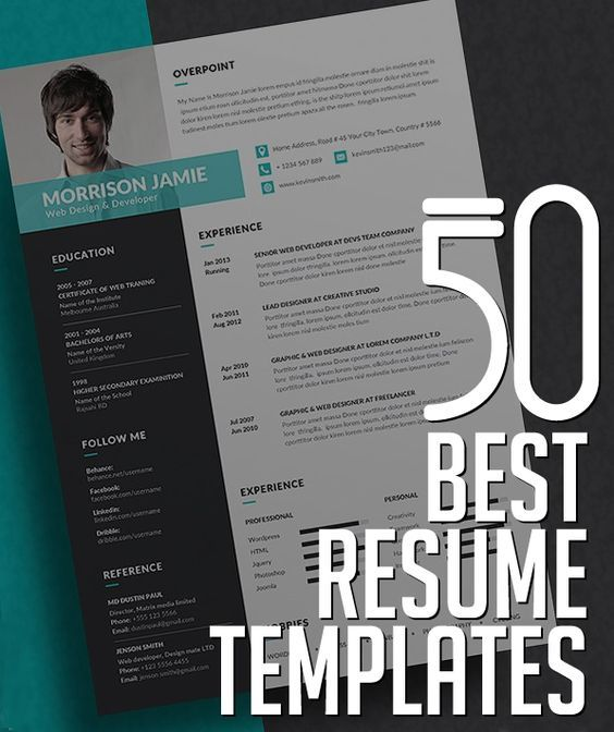 50 Best CV / Resume Templates with Cover Letter #bestof2017 #resumetemplates #minimalresume #psdresume #coverletter #resumedesign