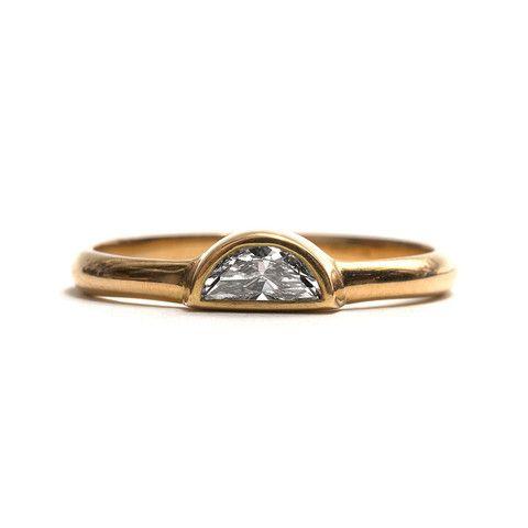 Half Moon Diamond and Yellow Gold Ring