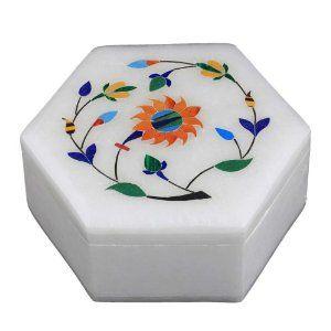 Boîte en albâtre décor fleurs colorées - Idée cadeau: Amazon.fr: Cuisine & Maison