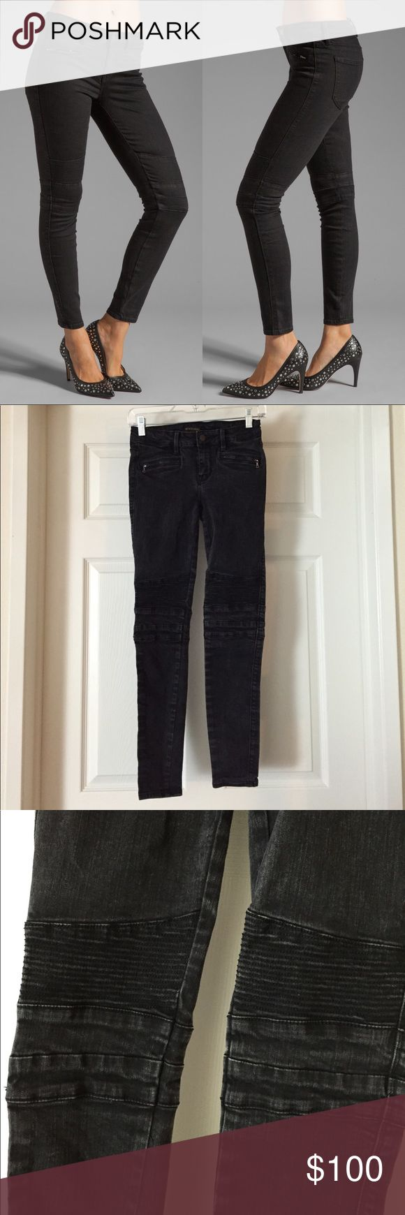 26 GENTIC DENIM THE CAMERON in RAVEN MOTO JEANS Worn a couple times. Still lots of life left. Tons of stretch in this pair. Size 26 Genetic Denim Jeans Skinny