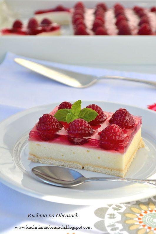 kuchnia na obcasach: Ciasto z kaszy manny bez pieczenia z malinami i galaretką