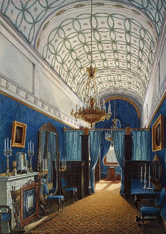 Interiors of the Winter Palace. The Dressing Room of Empress Alexandra Fyodorovna - Edward Petrovich Hau - Drawings, Prints and Painting from Hermitage Museum