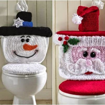 Patrones para juego de toilette ganchillo motivo de Navidad