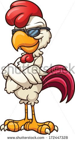 Cartoon chicken wearing cool sunglasses. Vector clip art illustration with simple gradients. All in a single layer.  - stock vector