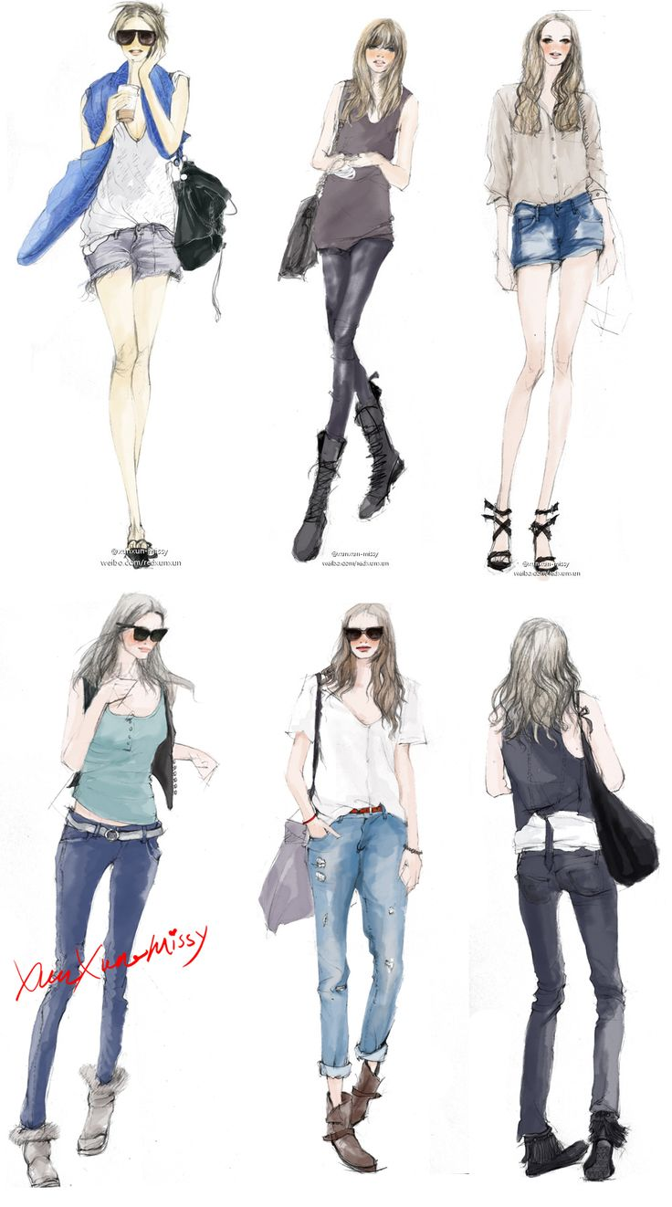 how to draw a girl in jeans and swerter