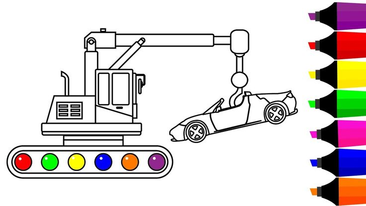 Learn Colors for Children with Crane Truck and Super Car Colouring Pages...