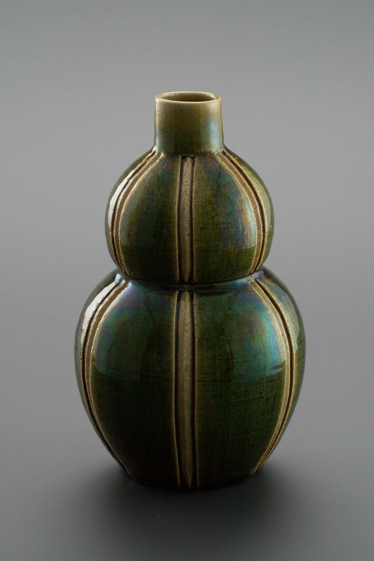 織部刻文花器 Vase with engraved,Oribe type2013