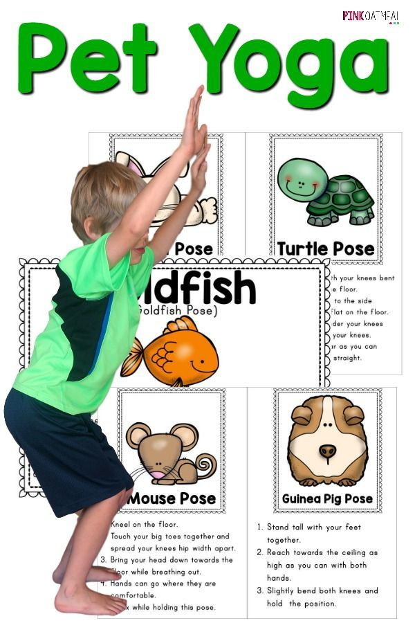 Pet themed yoga cards and printables are a perfect way to incorporate kids yoga poses!
