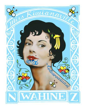 Lester Hall : Wahine Stamp Print. Layers of New Zealandness. A clever bastard is Lester.