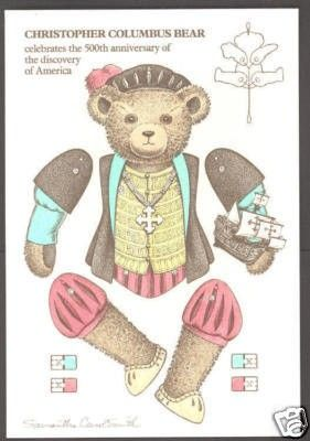 Paper Doll Postcard ~ Flying Rabbit ~ C. Columbus Bear ( Please see pictures of this item below the description ) Paper doll cut-out postcard featuring  Christopher Columbus Bear . Illustrated by Sam