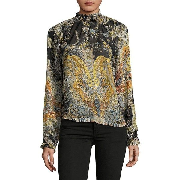 California Moonrise Women's Printed Mockneck Chiffon Blouse ($44) ❤ liked on Polyvore featuring tops, blouses, neutral, smock blouse, chiffon tops, long sleeve chiffon top, long sleeve blouse and smock top
