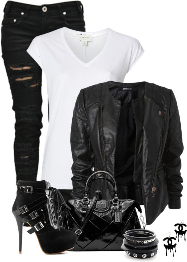 """Biker Chick"" by fashion-766 on Polyvore...I want this jacket"