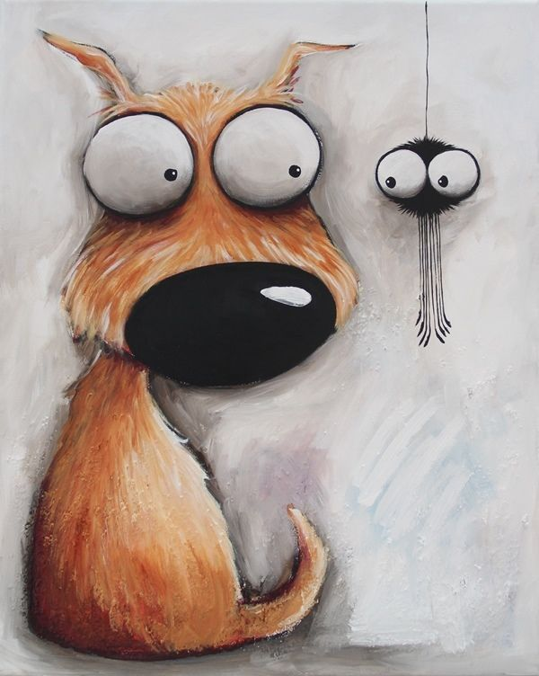 Original acrylic canvas painting whimsical modern art animal Dog puppy spider #Modernism