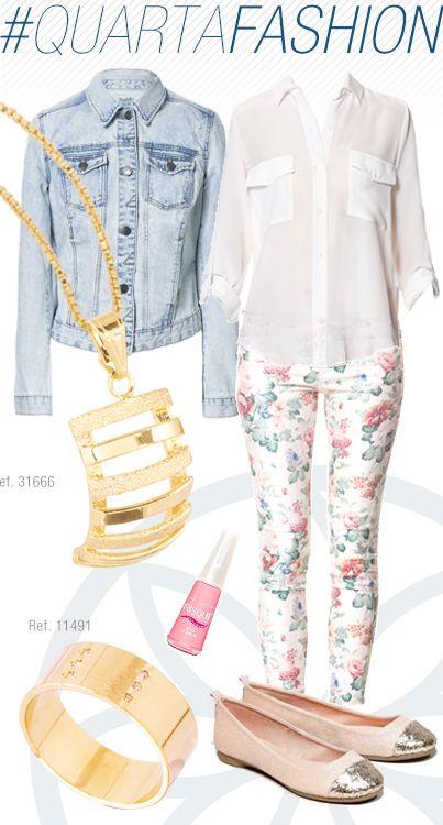 Calça com print clarinho, camisa branca levinha e jaqueta jeans. Pingente e anel Ronnelly.  Look para o dia a dia.  #joias #jewel #anel #pingente #QuartaFashion