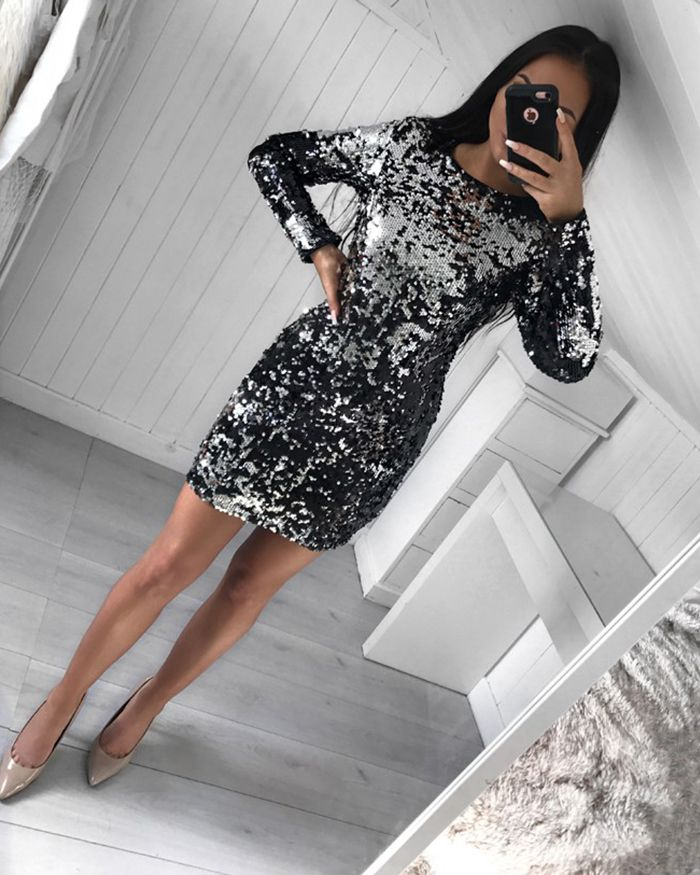 Jewel Sequined Tight Silver and Black Club Dress with Long Sleeves HD3017