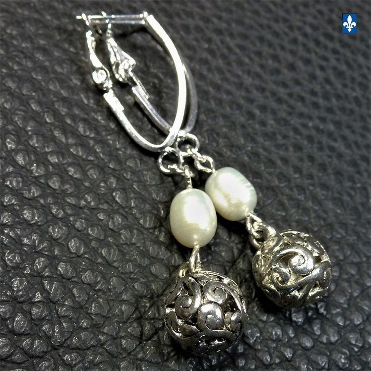 ♥ Elegant Genuine Natural Ivory Pearl Plated Silver Pendant Earrings