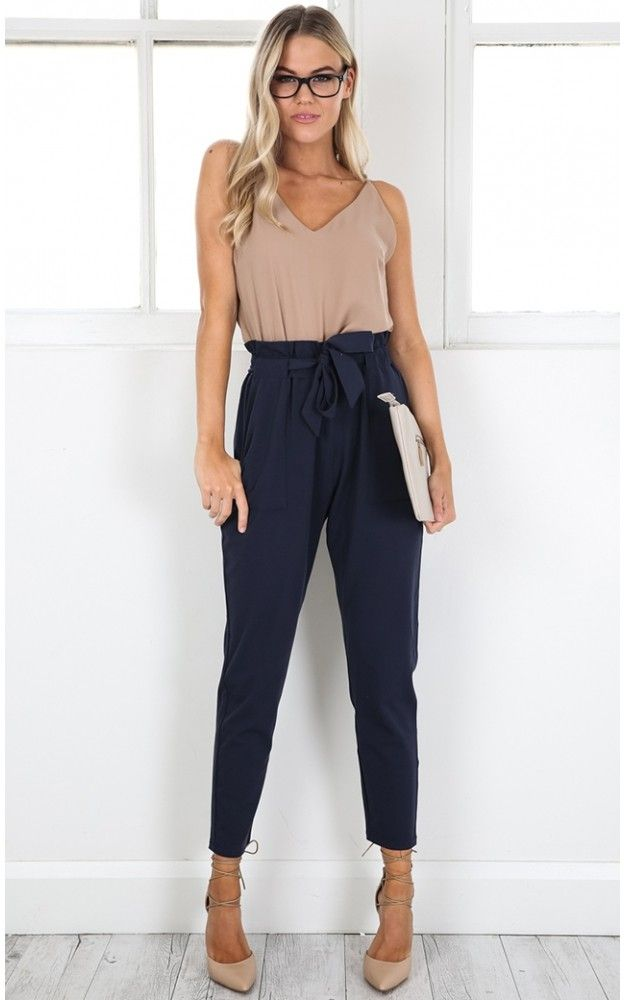 Navy High Waist Cigarette Pants                                                                                                                                                                                 More