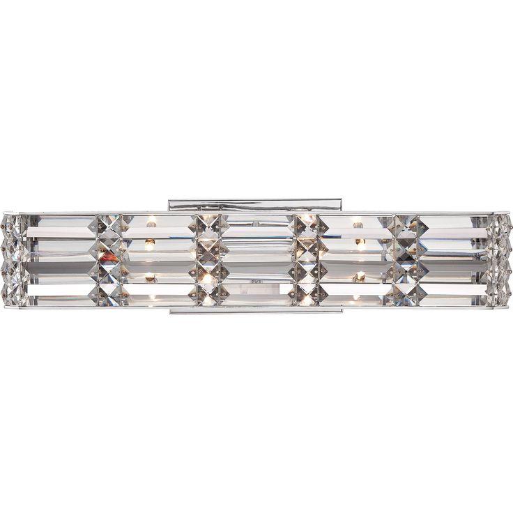 Quoizel Royale Polished Chrome And Crystal 4 Light Bath Fixture Xenon Chrome Vanity Silver Iron