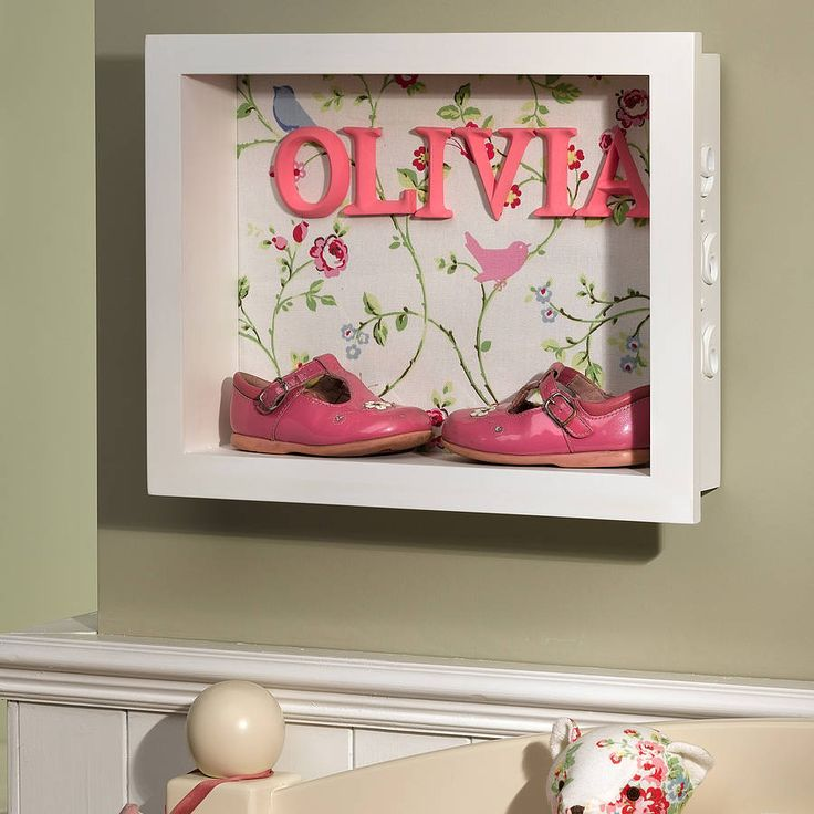 Glassless box frame with patterned paper or wallpaper background with name