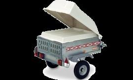 Wolder Remolques para transporte de animales · Sant Feliu · Remolque ligero de linea aerodinámica con tapa y portaequipajes de poliéster. Doble compartimento para perros y doble puerta trasera de apertura independiente.