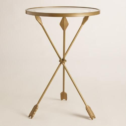 Gold Metal and Glass Arley arrows Accent Table   World Market