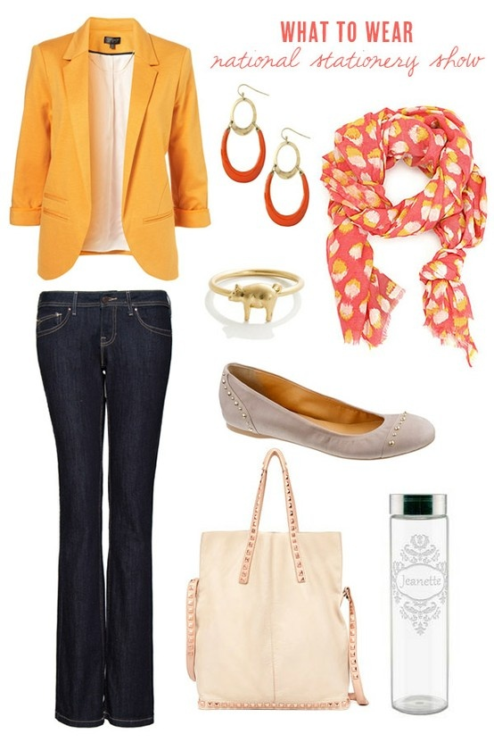 yellow blazer: Light Pink Blazers, Blazers And Jackets, Water Bottle, Coral, Casual Friday, Color Combos, Blazers Outfit, Orange Blazers, Yellow Blazers