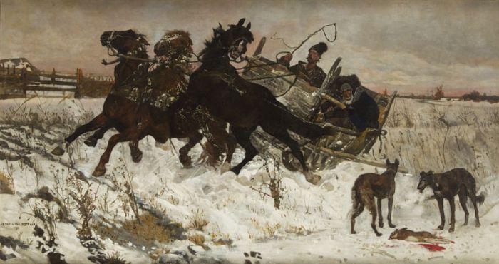 Józef Chełmoński - W podróży , 1878 r.