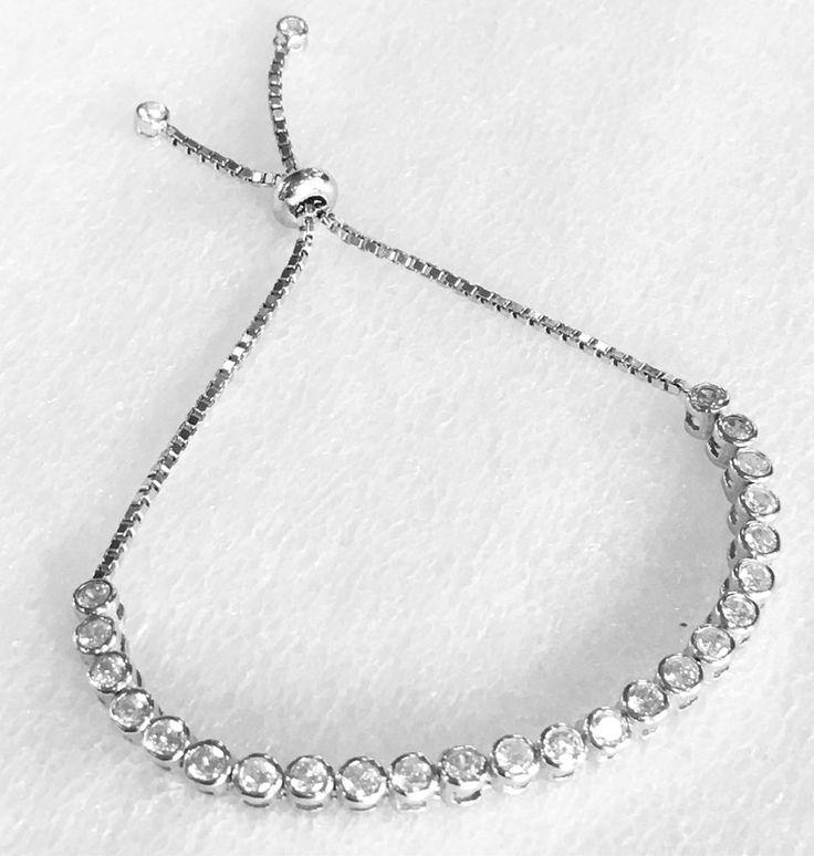 Turkish Handmade 925K Sterling Silver Zircon Tennis Bracelet   eBay