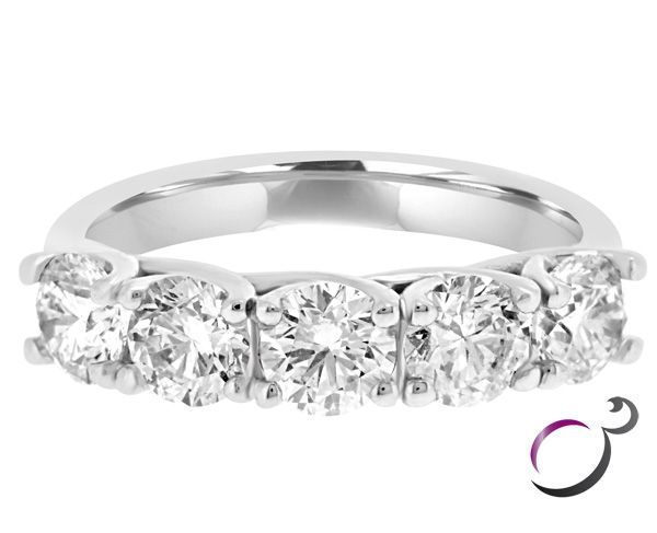 Five Stone Diamond Ring Set In 18k White Gold With Five Round Brilliant Cut  Diamonds In