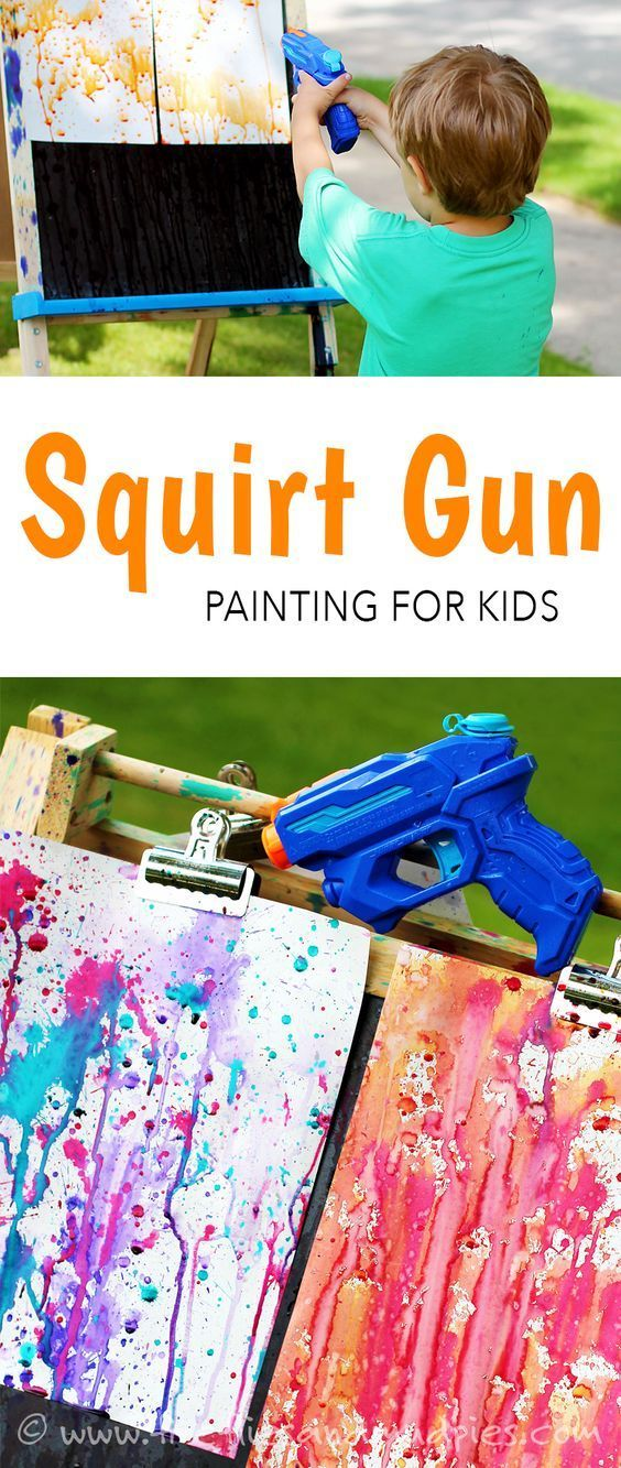 squirt gun painting kids will ask to do this again and again fireflies - Toddler Painting Games