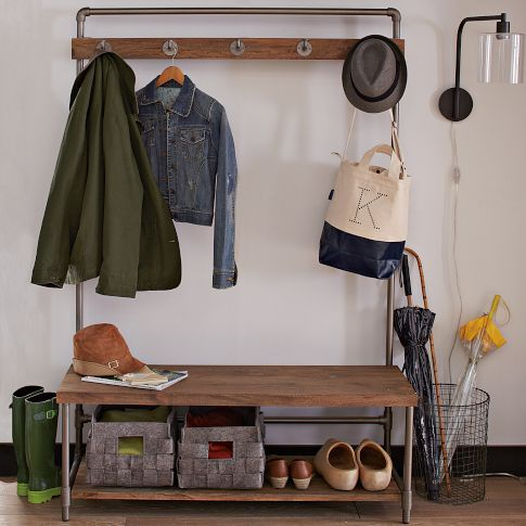 Pipeline Hall Tree | west elm. We don't have this in Aus, but it looks pretty simple to re-create using supplies from the hardware store. And you could make it custom-sized for the space too.