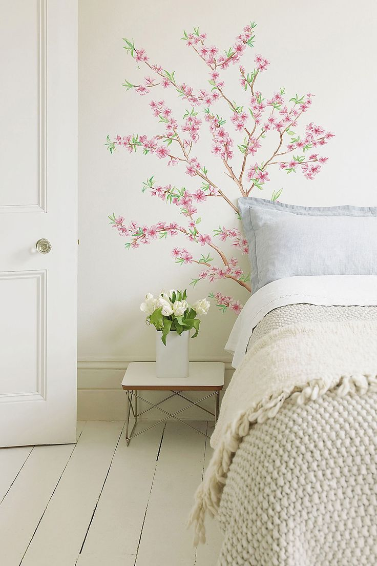 I'm thinking something like this in the bathroom instead of paintings or pictures that are more susceptible to damp. Branch Decal by Brewster Home Fashions