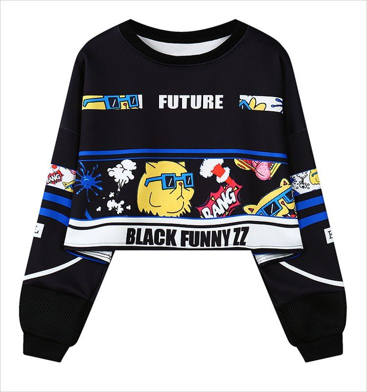 Harajuku Punk Letters Print Crop Top Style Women's Sexy Sweater
