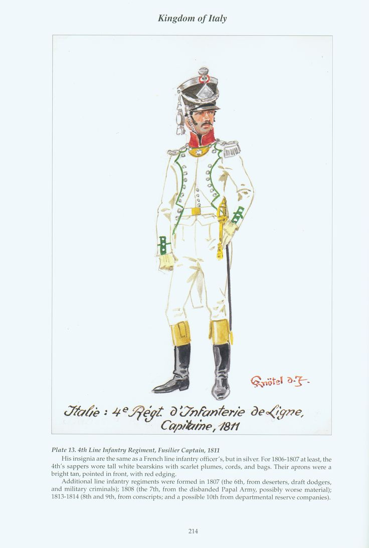 Kingdom of Italy: Plate 13: 4th Line Infantry Regiment, Fusilier Captain, 1811