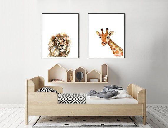 Animal Art Prints Set of 2 Safari Nursery Lion Giraffe