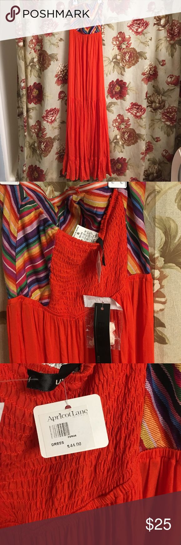 BRand new maxi dress Brand new with tags orange and striped maxi dress.  100% Rayon bought at a local boutique - Apricot Lane and never worn size medium apricot lane Dresses Maxi
