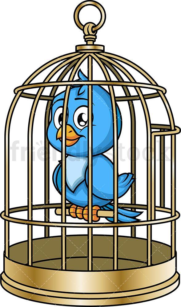 Blue Bird In Cage Cartoon Vector Clipart Friendlystock Bird In A Cage Blue Bird Cartoons Vector