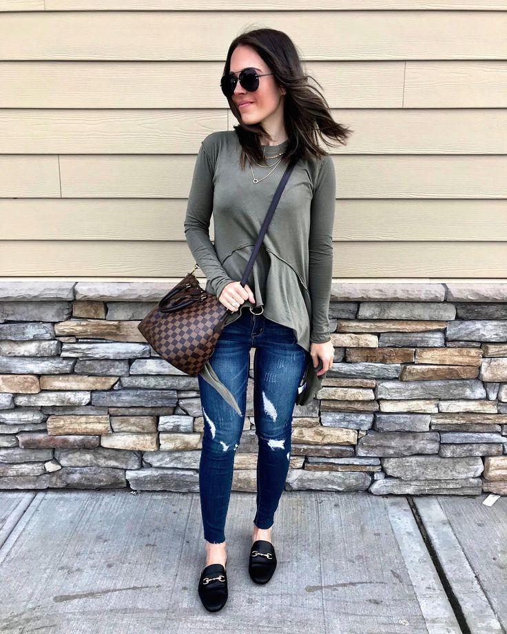 Instagram: @mrscasual | Olive peplum top, Louis Vuitton cross body bag, ripped jeans, & black mules