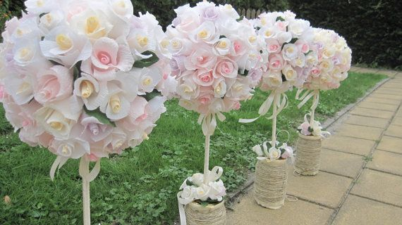 Wedding Ball Table Centerpices Crepe Paper Rustic by moniaflowers