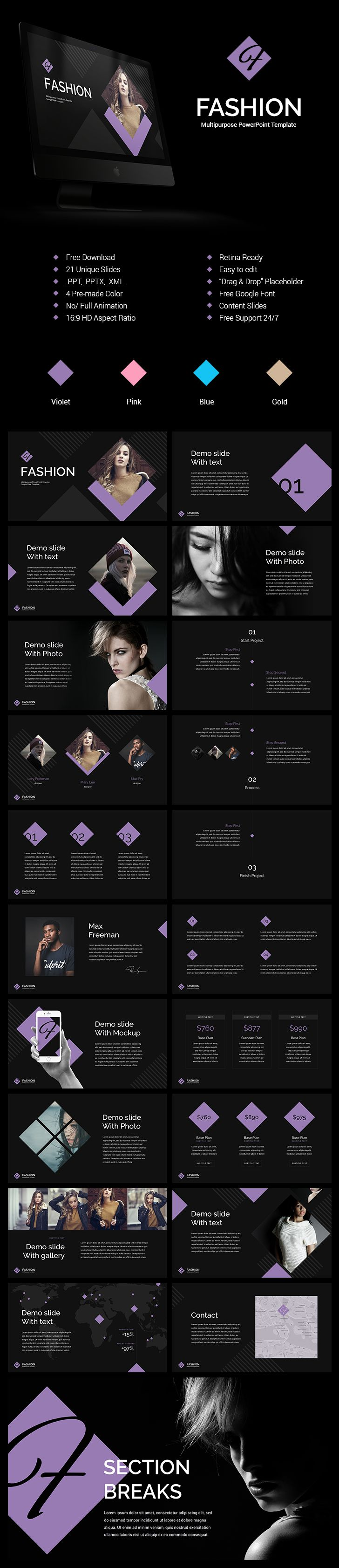 57 best powerpoint template images on pinterest ui ux animation fashion powerpoint templates free download 21 unique slides 4 pre made color toneelgroepblik Choice Image