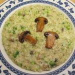 Risotto+mantecato+al+sedano+rapa+con+champignon,+broccoletti+e+profumo+di+limone