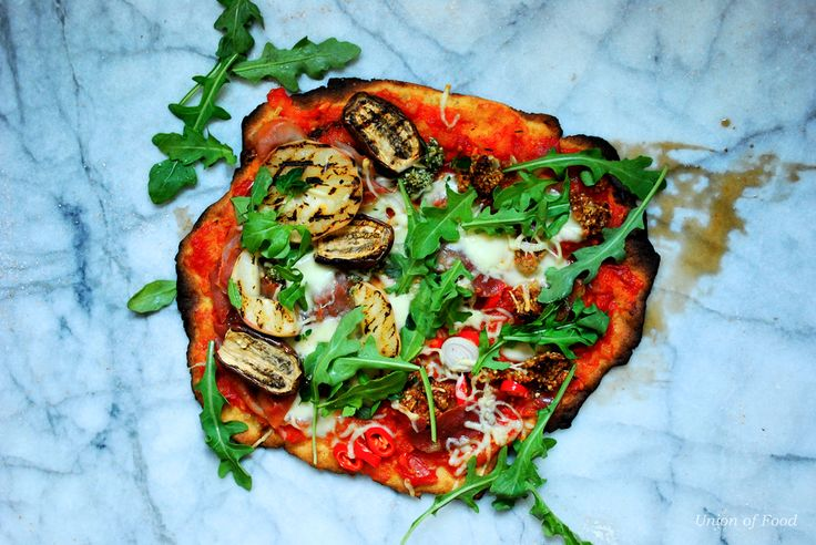 Gluten Free Pizza on marble #GFPIZZA With Grilled Aubergine and Grilled Peaches. Oh Summer:)