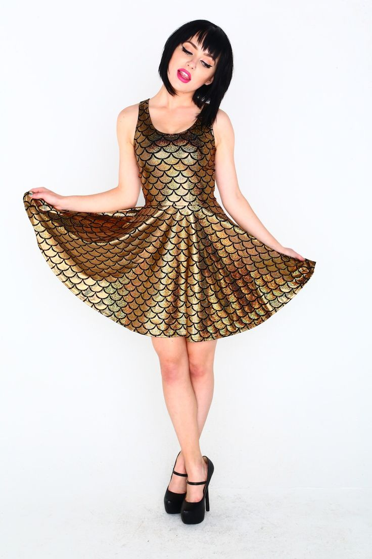 Gold Mermaid skater dress