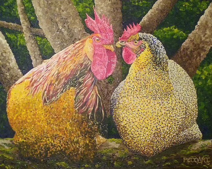 The Village Romance by Peco Art ... Oil on canvas, 50x40cm ...