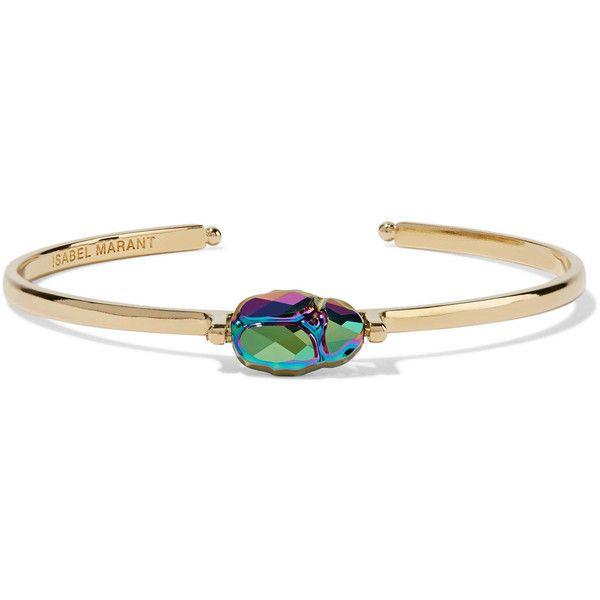 Isabel Marant Gold-tone bead bracelet (795 BRL) ❤ liked on Polyvore featuring jewelry, bracelets, beading jewelry, goldtone jewelry, iridescent jewelry, isabel marant and isabel marant jewelry