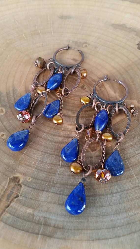 Gorgeous lapis lazuli and bronze freshwater pearl chandelier earrings